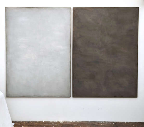 Time and Space 1 & 2 | 2020 | soil from Bavaria, Germany with acrylic on cotton | ea. 165 x 120 cm