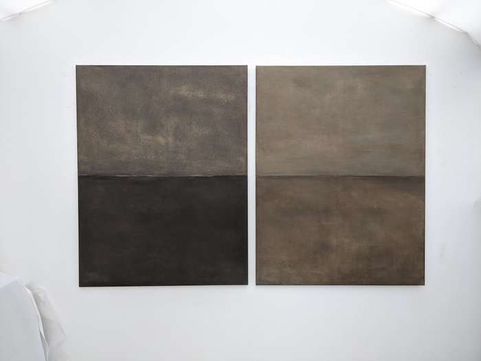 Everyday Rhythm_The Path Between Us no.1 & 2 | 2020 | soil Bavaria, Germany with acrylic on cotton | ea. 130 x 100 cm